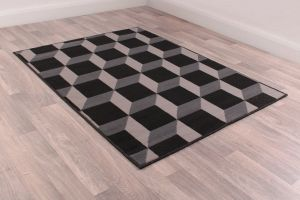 Modern Poly Cube Black Rug by Rug Style