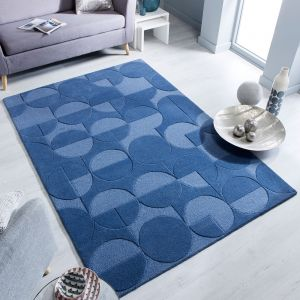 Moderno Gigi Denim Blue Wool Rug by Flair Rugs