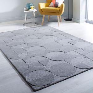 Moderno Gigi Grey Wool Rug by Flair Rugs