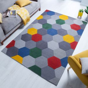Moderno Munro Red Yellow Multi Wool Rug by Flair Rugs