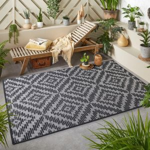 Monaco Geo Charocoal Grey Outdoor Rug By Oriental Weavers