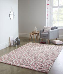 Moorish Melilla Pink Wool Rug by Flair Rugs