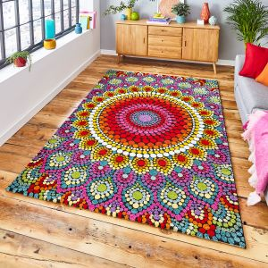 Mosaic 22841 Multi Floral Rug by Think Rugs