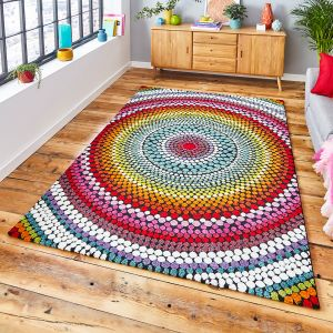 Mosaic 22844 Multi Floral Rug by Think Rugs