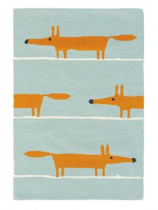 Mr Fox 25308 Aqua Hand Tufted Wool Rug by Scion