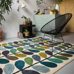 Multi Stem 059507 Kingfisher Wool Rug by Orla Kiely