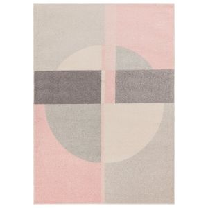 Muse MU21 Grey Pink Geometric Rug by Asiatic
