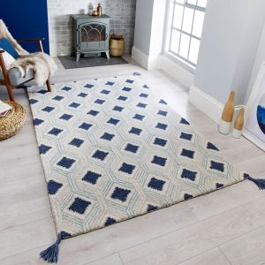 Nappe Marco Blue Wool Rug by Flair Rugs