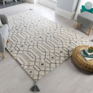 Nappe Pietro Grey Wool Rug by Flair Rugs