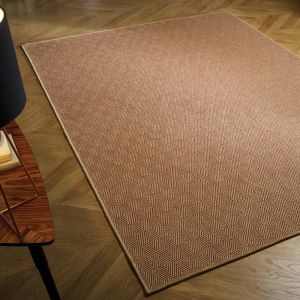 Natural Fibre Herringbone Diamond Terracotta Rug by Flair Rugs