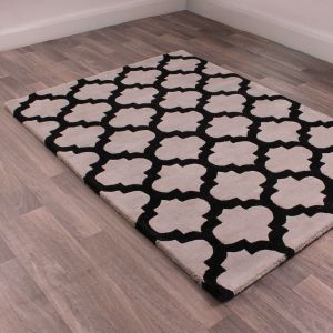 New Art Classico Grey Black Wool Rug by HMC