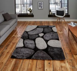 Noble House NH G1631 Black / Grey Rug by Think Rugs