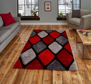 Noble House NH9247 Grey / Red Rug by Think Rugs