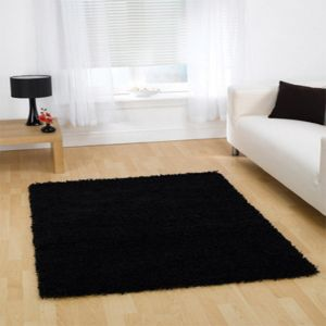 Nordic Cariboo Black Plain Shaggy Rug By Flair Rugs