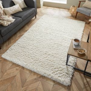 Nordic Cariboo Natural Plain Shaggy Rug by Flair Rugs