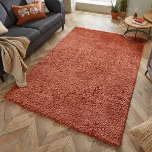Nordic Cariboo Terracotta Plain Shaggy Rug by Flair Rugs