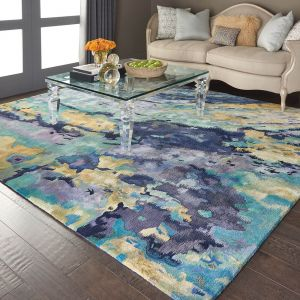 ourison PRS09 Prismatic Silver Blue Wool Rug