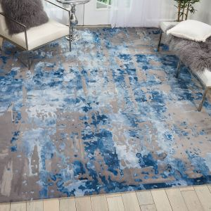 Nourison PRS10 Prismatic Blue Grey Wool Rug