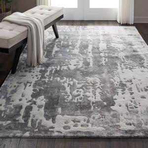 Nourison PRS12 Prismatic Silver Wool Rug