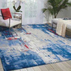 Nourison TWI20 Twilight Grey Blue Wool Rug