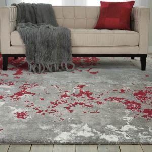 Nourison TWI21 Twilight Grey Red Wool Rug