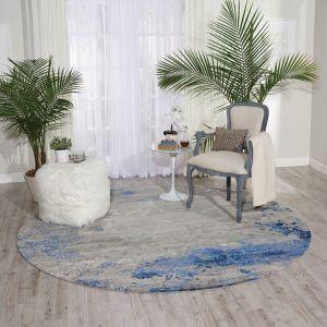 Nourison TWI22 Twilight Blue Grey Wool Circle Rug