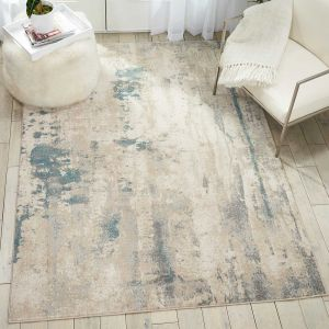 Nourison Maxell MAE17 Ivory/Teal Rug