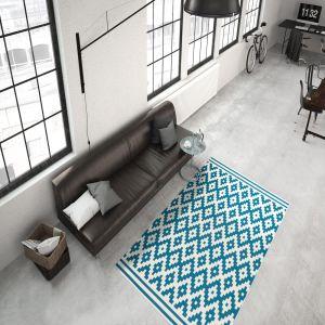 Now 300 Ivory/Turquoise Modern Rug by Kayoom
