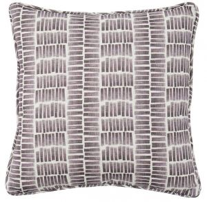 Ocean Plum Grey Striped Cushion by Claire Gaudion