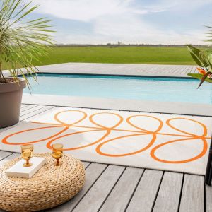 Giant Linear Stem 460703 Persimmon Rug by Orla Kiely