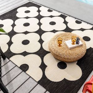 Spot Flower 460805 Black Rug by Orla Kiely
