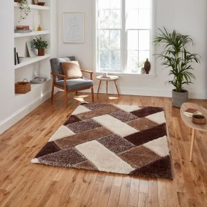 Olympia 2239 Beige Brown Shaggy Rug by Think Rugs