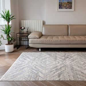 Onyx ONX01 Silver Geometric Rug by Concept Looms