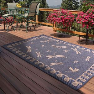 Outdoor Dragonfly Blue Rug by Rug Style