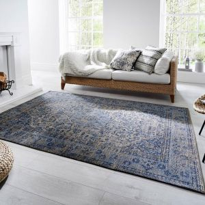 Palais Bianco Denim Blue Rug by Flair Rugs