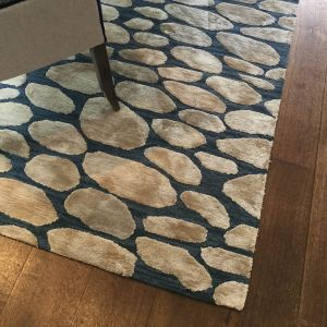 Pebble Woad Hand Tufted Wool Rug by William Yeoward