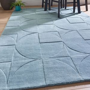 Penny Steel Blue Geometric Wool Rug by Origins