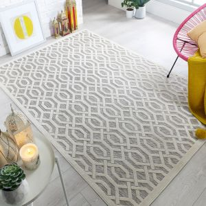 Piatto Mondo Natural Modern Geometric Rug by Flair Rugs
