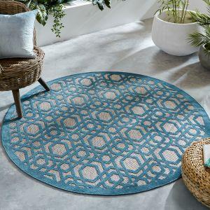 Piatto Oro Blue Modern Geometric Circle Rug by Flair Rugs