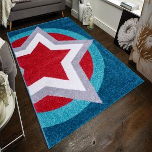 Play Days Hero Supershield Blue/Red Kids Rug by Flair Rugs