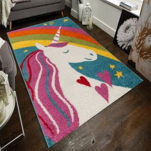 Play Days Unicorn Rainbow Multi Kids Rug by Flair Rugs