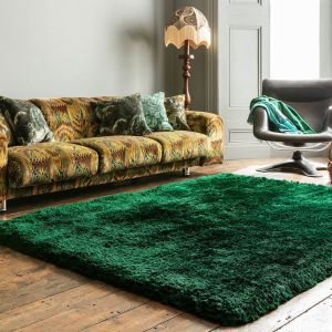 Plush Emerald Plain Shaggy Rug by Asiatic