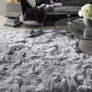 Plush Silver Luxury Shaggy Polyester Rug by Asiatic