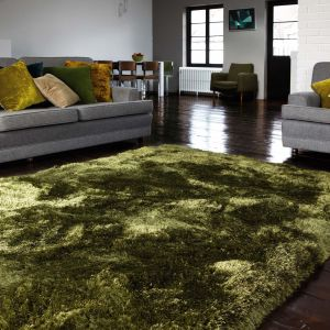 Plush Green Luxury Shaggy Polyester Rug by Asiatic 1