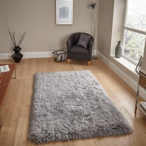 Think Rugs Polar PL95 Light Grey Thick Shaggy Rug