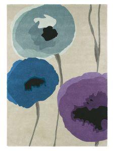 Poppies 45705 Indigo Purple Hand Tufted Wool Rug by Sanderson