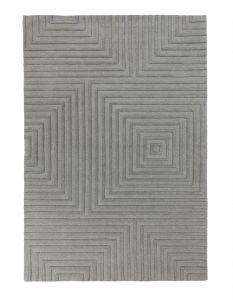 Porto Estela Grey Wool Modern Rug by Flair Rugs