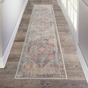 Homestead HMS03 Blue Grey Traditional Runner by Nourison