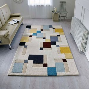 Illusion Abstract Blocks Blue/Ochre Wool Rug by Flair Rugs 1
