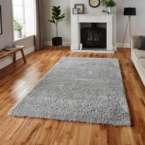 Repreve Recycled Grey Plain Shaggy Rug by Think Rugs